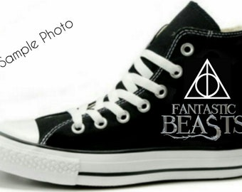 4ac5f04aa0888c Fantastic Beasts Fan Art Hand Painted Converse All Star Hi Top Sneakers  Black M+W Sizes Canvas
