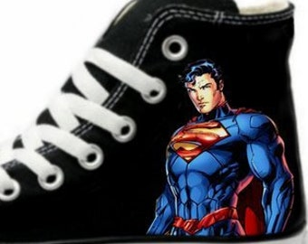 640ff640ada7 Superman New 52 Fan Art Hand Painted Converse All Star Hi Top Sneakers  Black M+W Sizes Canvas