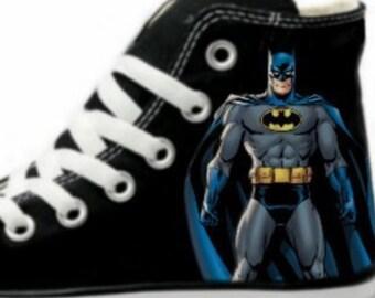 624dad90b793 Batman Fan Art Hand Painted Converse All Star Hi Top Sneakers Black M+W  Sizes Canvas
