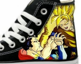 72d59ca9f472 Goku vs Superman Fan Art Hand Painted Converse All Star Hi Top Sneakers  Black M+W Sizes Canvas