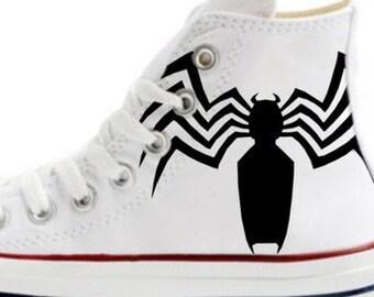 1048b610920e Spider-Man Venom Fan Art Custom Painted Converse All Star Hi Tops M+W+Y  Sizes White