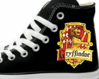 22f8494d3013bd Hogwarts Gryffindor Crest Fan Art Hand Painted Converse All Star Hi Top  Sneakers Black Many Sizes Canvas