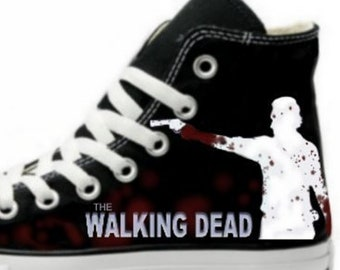 10c52ae597ca The Walking Dead  Rick Grimes  Fan art Hand Painted Converse All Star Hi  Top Sneakers Black M+W Sizes Canvas