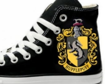 326ac999e6cd4d Hogwarts Hufflepuff Crest Fan Art Hand Painted Converse All Star Hi Top  Sneakers Black Many Sizes Canvas
