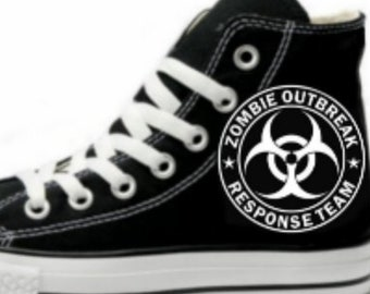 f8ecf8b0a922 Zombie Response Team Biohazard Fan Art Hand Painted Converse All Star Hi Top  Sneakers Black M+W Sizes Canvas