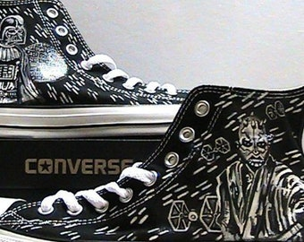 fe9ffbcd44fd Star Wars Sith Lords Vader - Maul Fan Art Painted Converse All Star Hi Tops  M+W Sizes Black