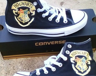 e06d07e3a35940 Hogwarts Crest Fan Art Hand Painted Converse All Star Hi Top Sneakers Black  Many Sizes Canvas
