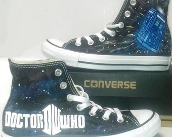 0ea0ea6c02a3 Doctor Who Fan Art Hand Painted Converse All Star Hi Top Sneakers Black M+W  Sizes Canvas