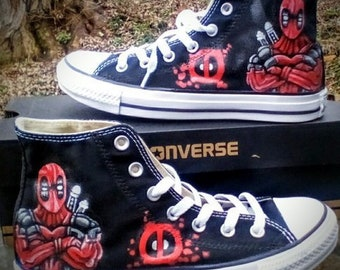 Deadpool Fan Art Hand Painted Converse All Star HiTop Sneakers Black M+W  Sizes Canvas 27ed8639d1