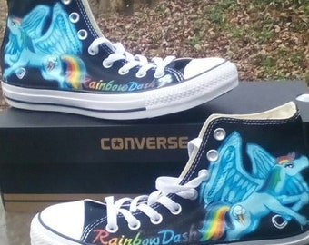 c76f42947bad Rainbow Dash My Little Pony Fan Art Hand Painted Converse All Star Hi Top  Sneakers Black Many Sizes Canvas