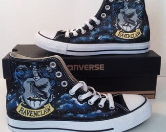 e4ecc3a5acfc09 Galaxy Hogwarts Ravenclaw Crest Fan Art Hand Painted Converse All Star Hi  Top Sneakers Black Many Sizes Canvas