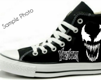 a650781f6f64c3 Venom Spider-Man Fan Art Hand Painted Converse All Star HiTop Sneakers  Black M+W Sizes Canvas