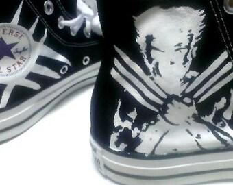 cb7cb8c78a09 Hugh Jackman as Wolverine Fan Art Hand Painted Converse All Star Hi Top  Sneakers Black M+W Sizes Canvas