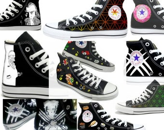9d1ef633cee5 Custom Personalized Hand Painted Converse All Star HiTop Sneakers M+W Sizes  Canvas