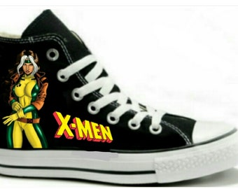 f0c775c1cb34 Rouge X-Men Fan Art Hand Painted Converse All Star HiTop Sneakers Black M+W  Sizes Canvas