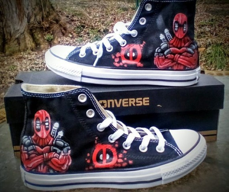 88cb7ddc6071 Deadpool Fan Art Hand Painted Converse All Star HiTop Sneakers