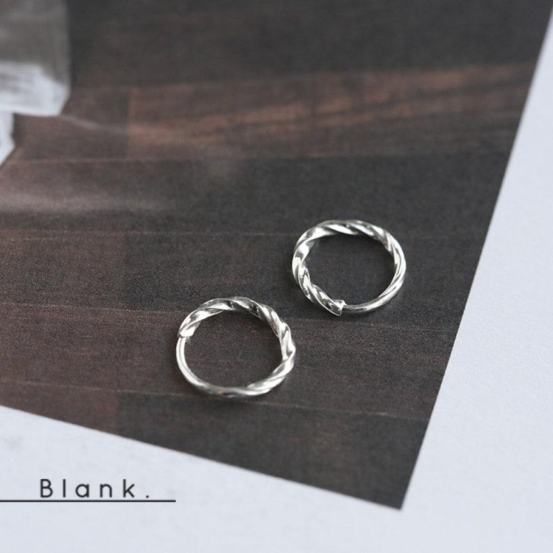 Minimalist statement earrings silver hoops tiny small dainty hoops earrings 925 sterling silver earrings twisted hoops plain hoops