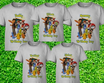 21ab67f7 Pokemon Birthday Shirt, Pokemon Family Shirts, Pokemon Matching Shirts,  Pokemon Iron On Transfer, Pokemon Theme Party Shirts