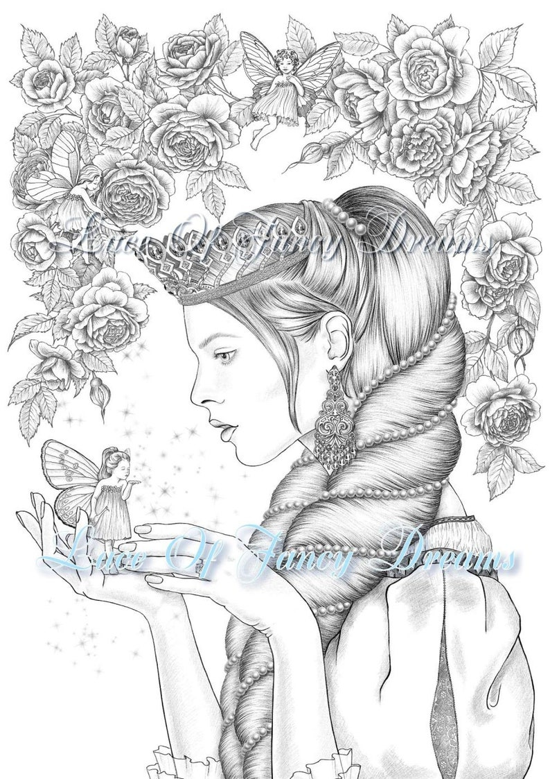 Princess and Little Fairy coloring page download beautiful ...