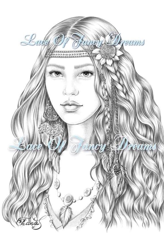 Adult Coloring Page Drawing Boho Woman Printable Coloring Etsy