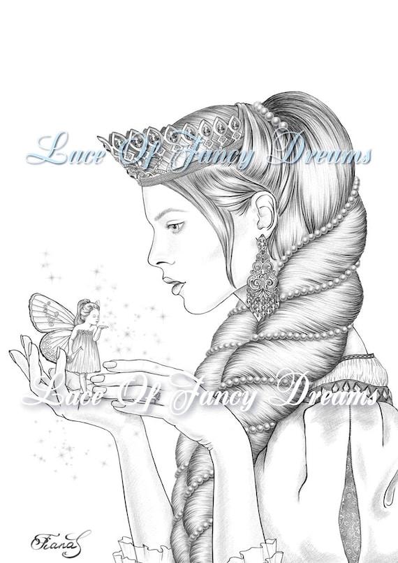 Princess And Fairy Coloring Page Pdf Beautiful Princess Etsy