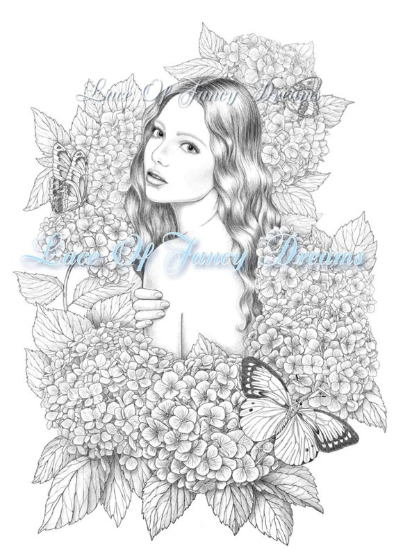Hydrangea Coloring Page Pdf Beautiful Woman Coloring Sheet Printable Coloring Pages Flowers Nice Girl Coloring Adult Coloring Page Digital