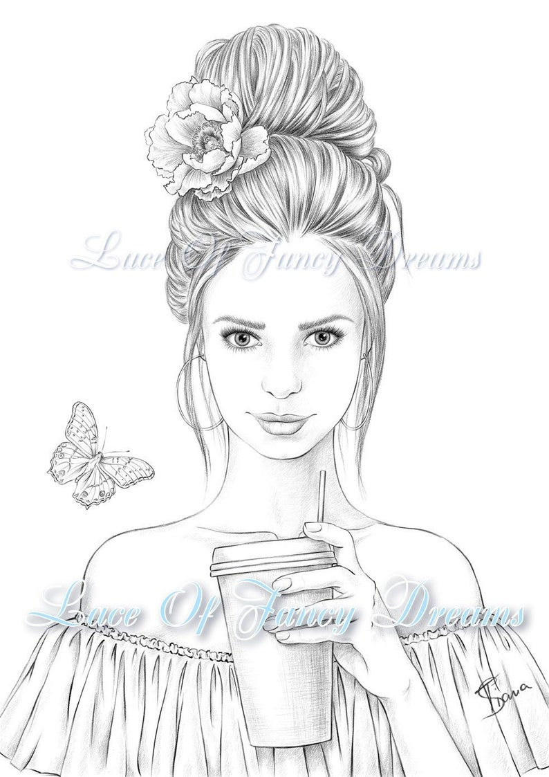 Beautiful woman coloring page for adult coloring sheet ...