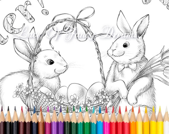 Happy Easter coloring page pdf, cute Easter bunny coloring sheet pdf Easter  gift printable coloring pages pdf basket eggs drawing Tiana Lofd
