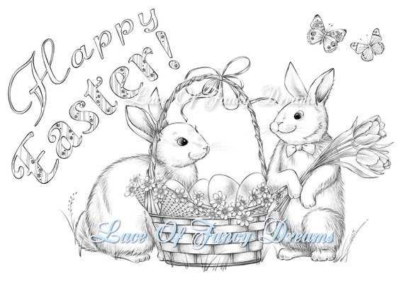 Happy Easter Coloring Page Pdf Cute Easter Bunny Coloring Etsy