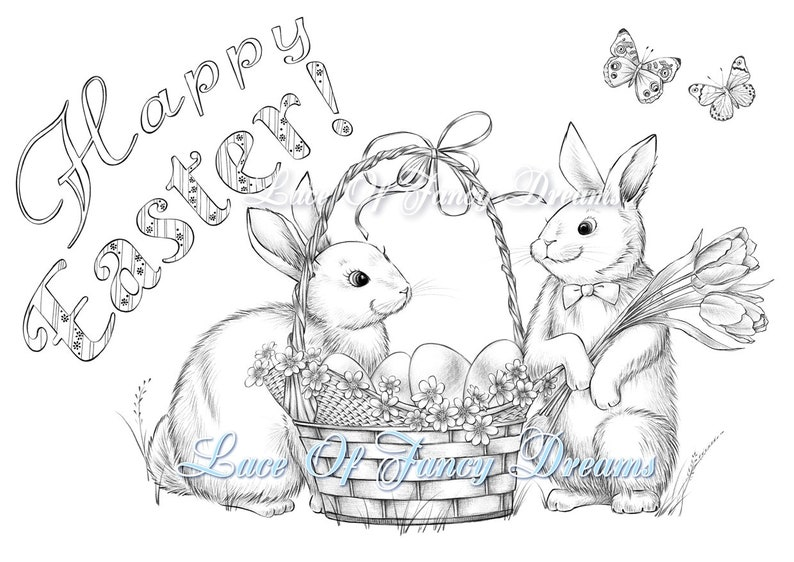 Happy Easter coloring page pdf cute Easter bunny coloring ...