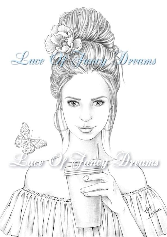 Coloring Page For Adult Beautiful Woman Coloring Sheet To Etsy