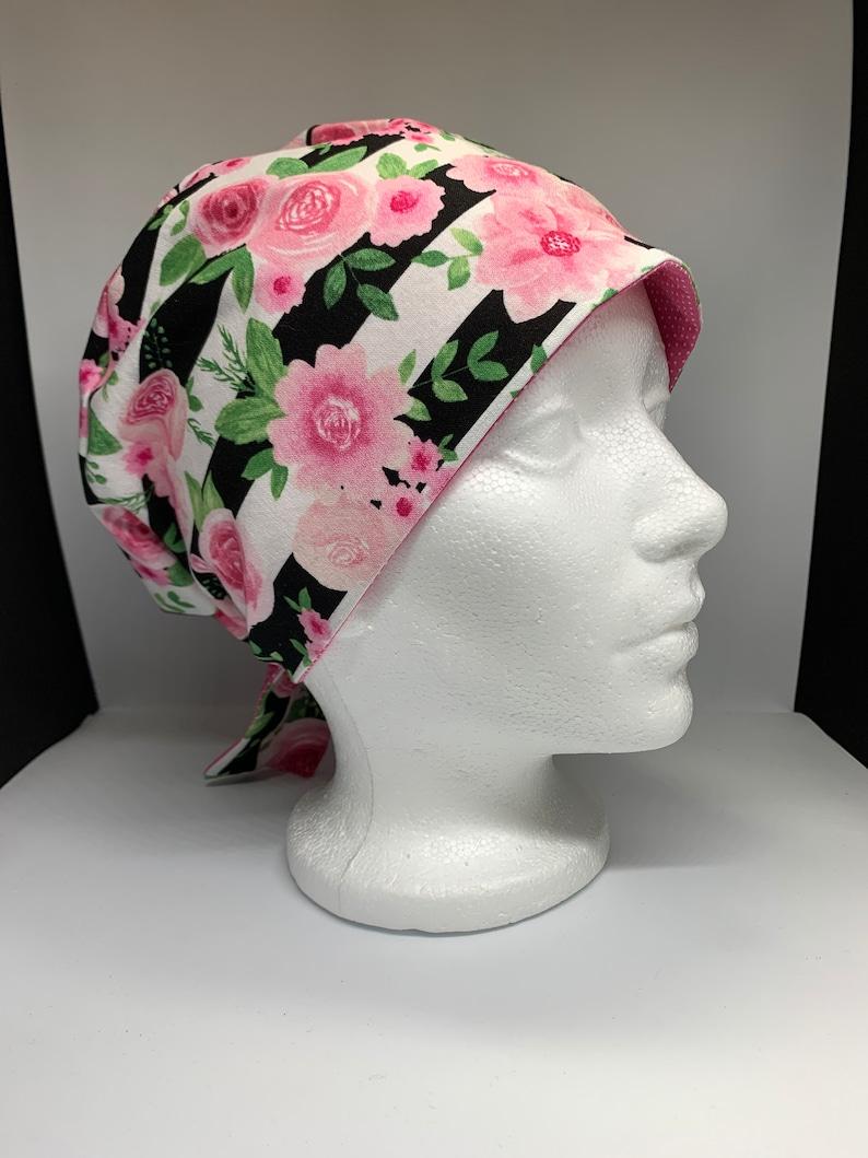 Flowers and stripes scrub cap