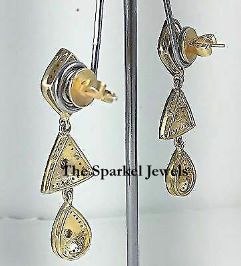 Fine Handmade Natural Rose Cut Diamond /& Uncut Diamond Polki 925 Sterling Silver Victorian Vintage Handmade Diamond Earrings Jewelry