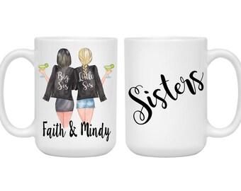 Sisters Mug Big Sis Little Sister Birthday Gift Christmas 15 Oz Large Coffee