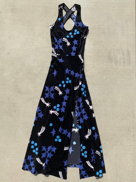 1970s Celestial Velour Dress