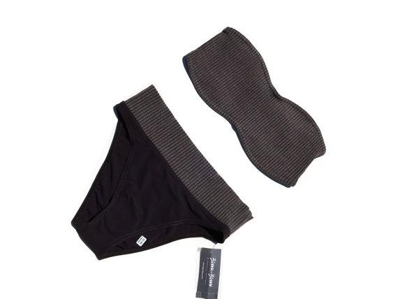 90s Deadstock Ribbed Knit Strapless Bikini Sz 8