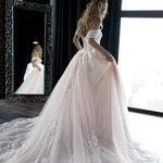 Off shoulder ball wedding dress Sheldon by Olivia Bottega. Lace wedding dress. Princess wedding dress. Mod wedding dress.