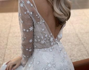 Wedding dress Tirion star with sleeves by Olivia Bottega. A line boho wedding dress. Glitter tulle.