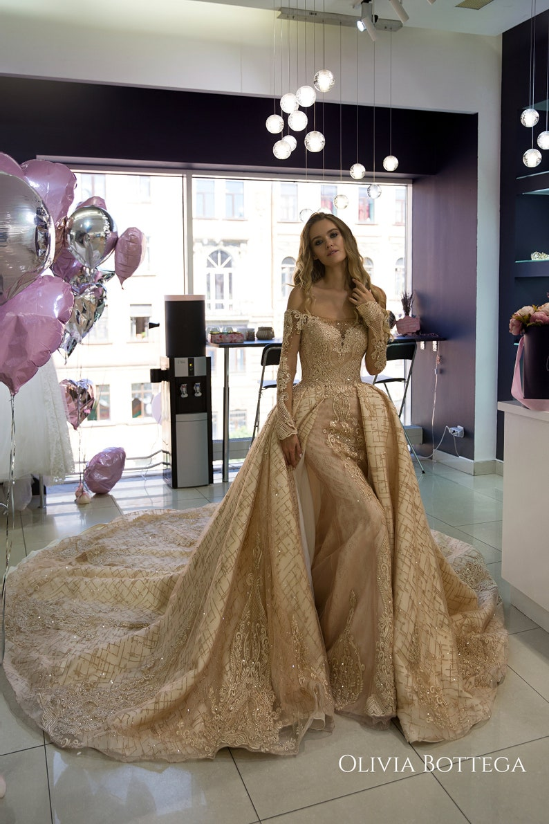 Wedding Dress Baigy By Olivia Bottega Mermaid Wedding Dress With A Top Full Skirt Of Satin And Glitter Gold Tulle Gold Wedding Dress