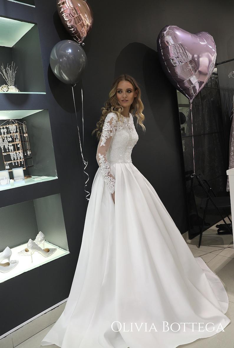 46885d7d63d Mikado wedding dress Tviko by Olivia Bottega. Long sleeve