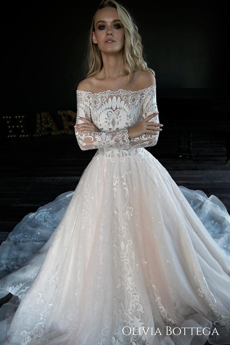 bb7c03a400d78 A line wedding dress Joslin by Olivia Bottega. Lace wedding | Etsy