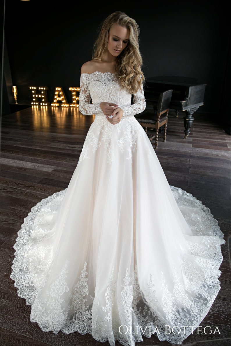 A Line Wedding Dress.A Line Wedding Dress Olivia By Olivia Bottega Wedding Dress Off The Shoulder