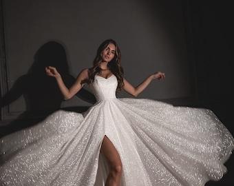 Bree by Olivia Bottega | Floor length A-line wedding dress | Glitter gown | Sparkly dress | Floor length gown