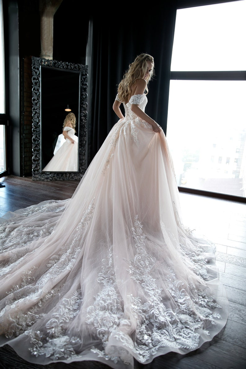 ad163ab2d127c Off shoulder ball wedding dress Sheldon by Olivia Bottega. | Etsy