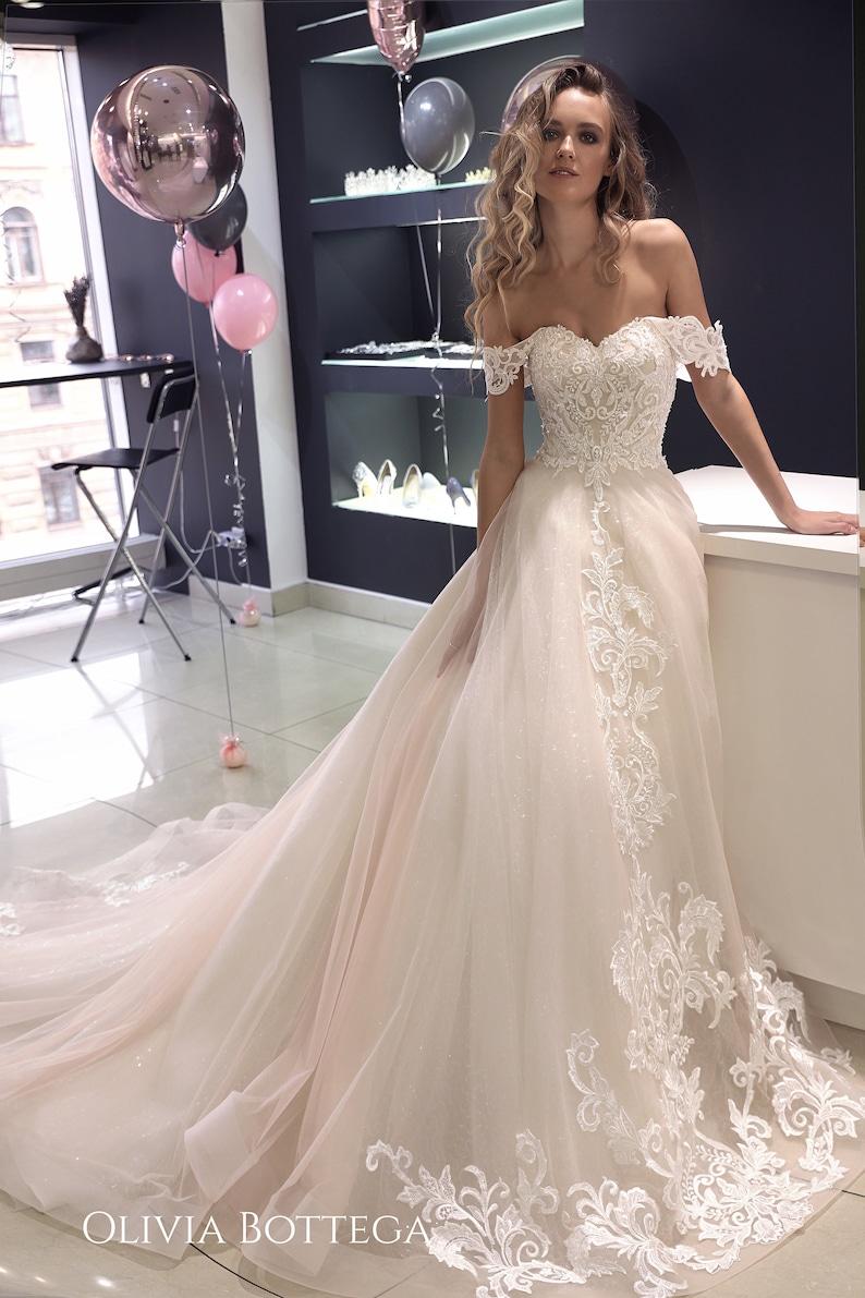 Off Shoulder Wedding Dress.Off The Shoulder Wedding Dress Ivia By Olivia Bottega Open Back Wedding Dress Lace Wedding Dress A Line Wedding Dress
