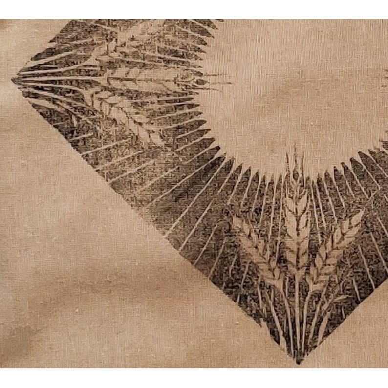 linocut handmade blockprint Artist-sewn Yoga /& Baguette Bag wheat hand-printed linen market bag