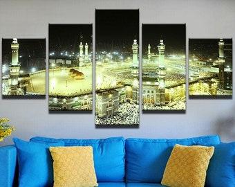 5 Piece Wall Art Canvas Home Decor Poster Islamic Qibla Kaaba Mecca Muslim Quran