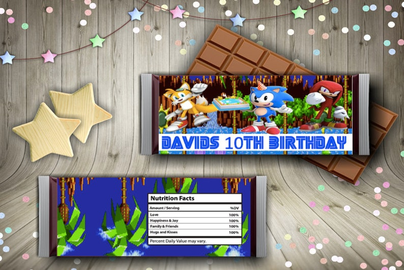 Sonic Candy Bar labels