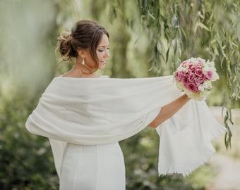 Alpaca Wedding Shawl | Winter Wedding Shawl | Bridal Cover Up | Bridal Wedding Stole | Bridal Wrap | Ivory Shawl | Bridal Shawl
