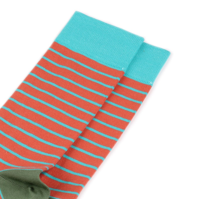 Orange Burning Heels Crew Socks Horizontal Stripes